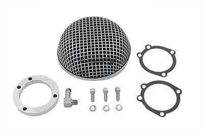 Chrome round mesh air cleaner for CV Carb./88-Up HD is 5-1/2