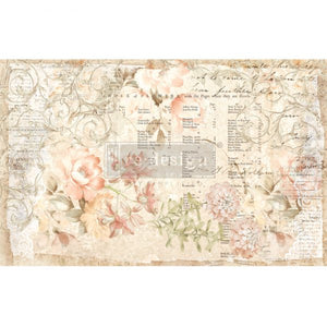 "NEW! *Floral Parchment* - Mulberry Decoupage Tissue Paper - 19"" x 30"" total size (Cut into 2 sheets)"