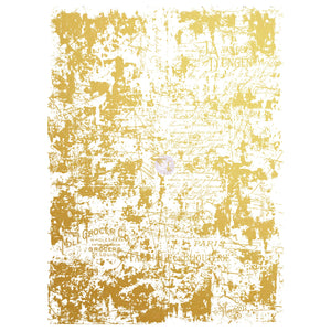 "Gilded Distressed Wall Gold Foil Rub On Transfer-17""x23"" total image size"