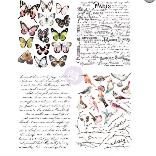 Parisian Butterflies -Each image is on an indivdiual sheet- Rub On Transfer-Redesign with Prima