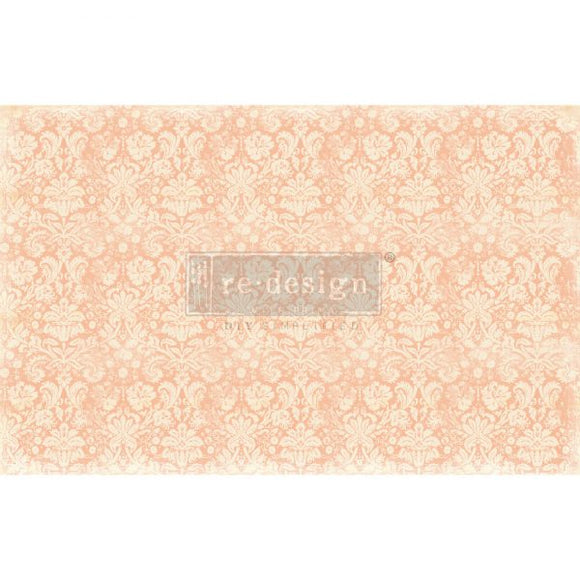 NEW! *Peach Damask* - Mulberry Decoupage Tissue Paper - 19