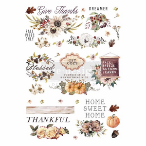 "Thankful Autumn 24"" x 34"" total image size, split in 3 sheets-rub-on transfer by Redesign with Prima"