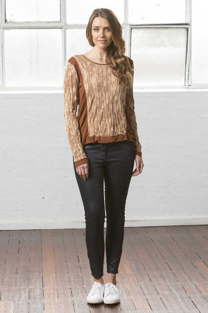 Spliced Bark top in Soy blend textured fabric in Brown