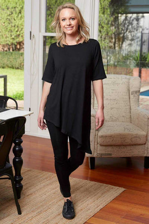 Asymmetric viscose top black