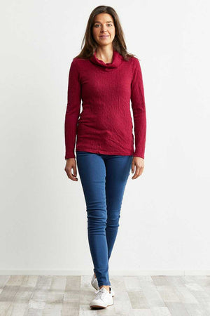 Ripple long Sleeve Skivvy Top in Sangria over Blue jeans
