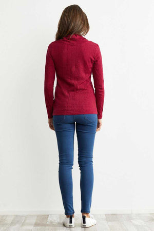 Ripple long sleeve Sangria skivvy neck wool blend top