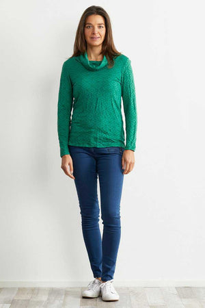 Green long sleeve skivvy neck wool blend top