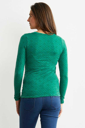 back view of the Apple green wool blend basic long sleeve top