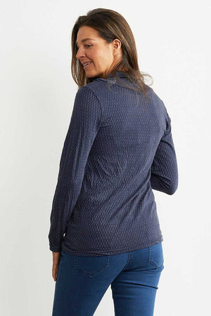 back of the navy wool blend skivvy neck top