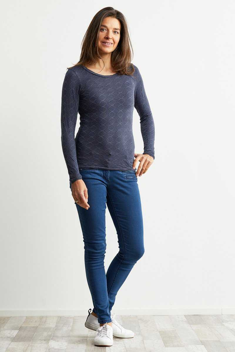 wool blend long sleeve basic top in denim colour