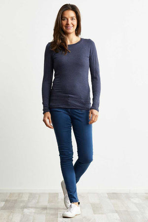 wool blend denim colour long sleeve basic top