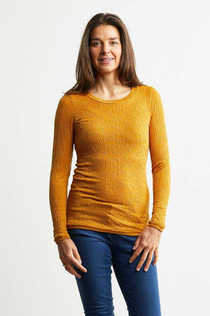 wool blend yellow basic top