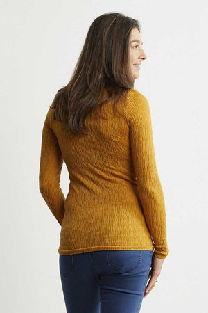 back wool blend long sleeve yellow top