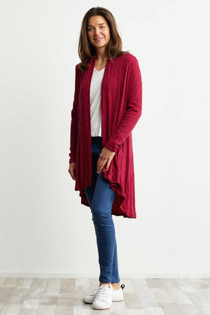 Dark pink wool blend cardigan with pockets