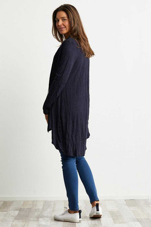 dark navy wool blend cardigan with pocket