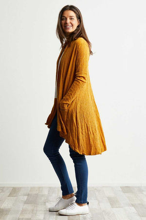 wool blend stretch fabric yellow cardigan