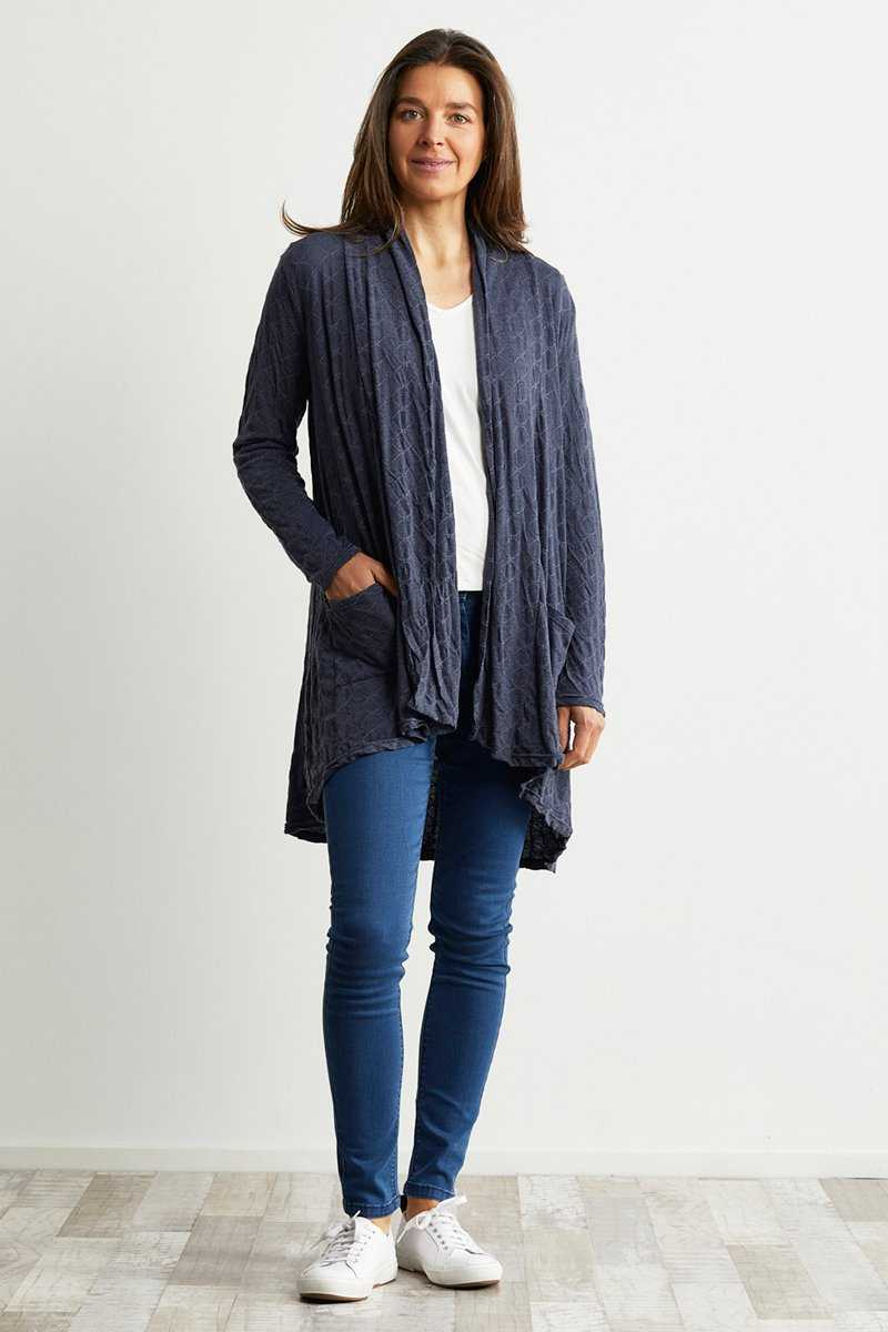 Denim colour wool blend cardigan with pockets