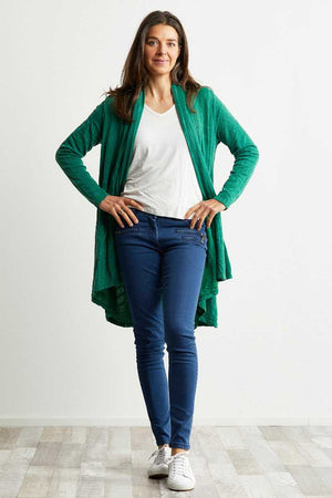 apple green wool blend stretch fabric cardigan