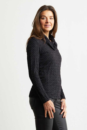 black jacquard wool blend skivvy neck long sleeve top
