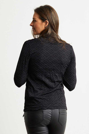 back of the black wool blend skivvy neck top