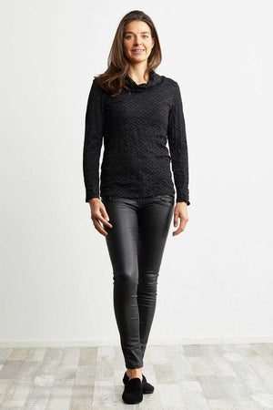 black wool blend skivvy neck top