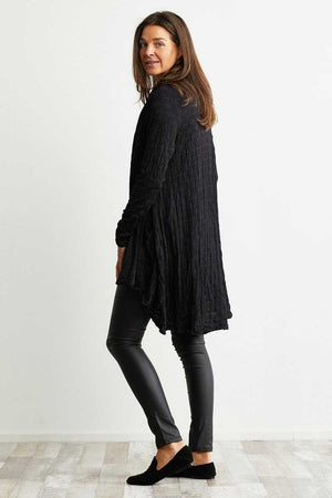 black wool blend swing cardigan
