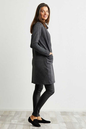 Grey and Black textured cardigan with pockets