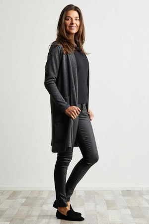 Knee length Grey and Black textured cardigan