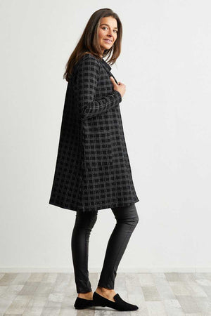 Black check knee length cardigan over black jeans