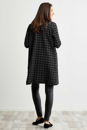 Back of black check knee length cardigan