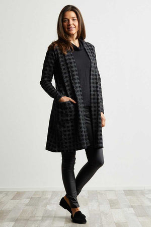 Black check knee length cardigan over black skivvy and black jeans