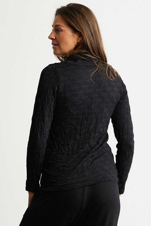 Black skivvy neck long sleeve wool blend top