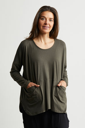 Bamboo Cotton jumper with pockets in Khaki