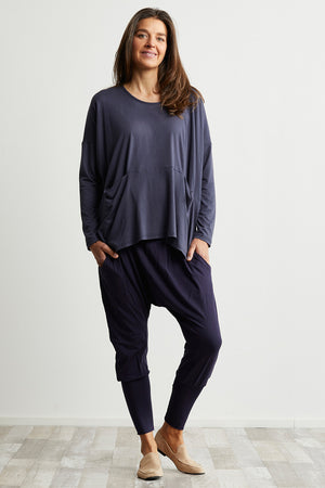 Bamboo Cotton jumper with pockets in Blue