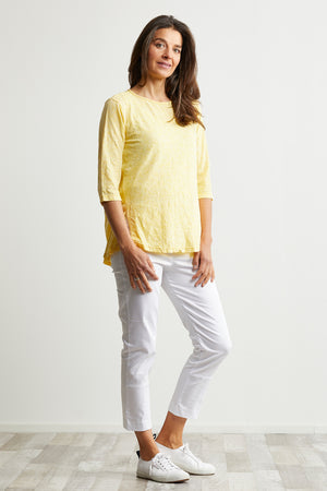 Birds 3/4 Sleeve Top with Splits in Yellow