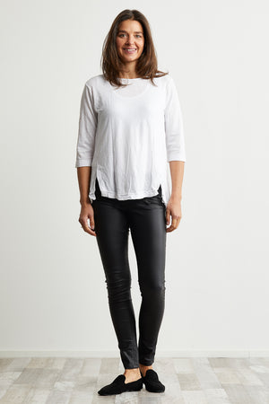 Birds 3/4 Sleeve Top with Splits in White over Black shinny jeans