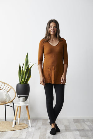 3/4 sleeve a line tunic