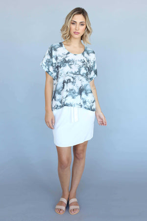 Cloud Print Extended Shoulder Top