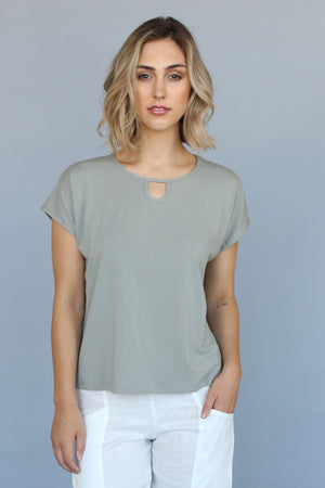 keyhole top in Light green Bamboo Organic Cotton fabric