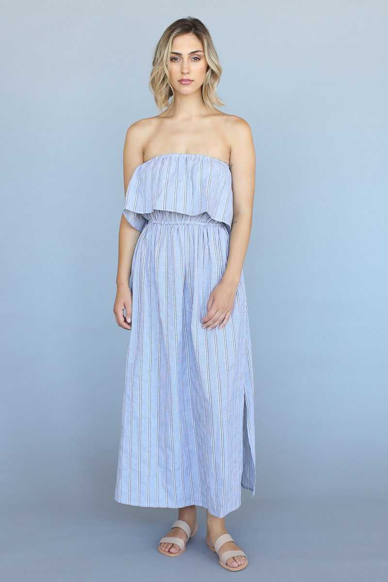 Cotton Stripe Frill Maxi