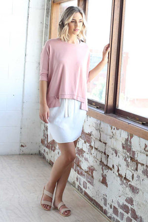 Bamboo Cotton Boxy Top in Pink