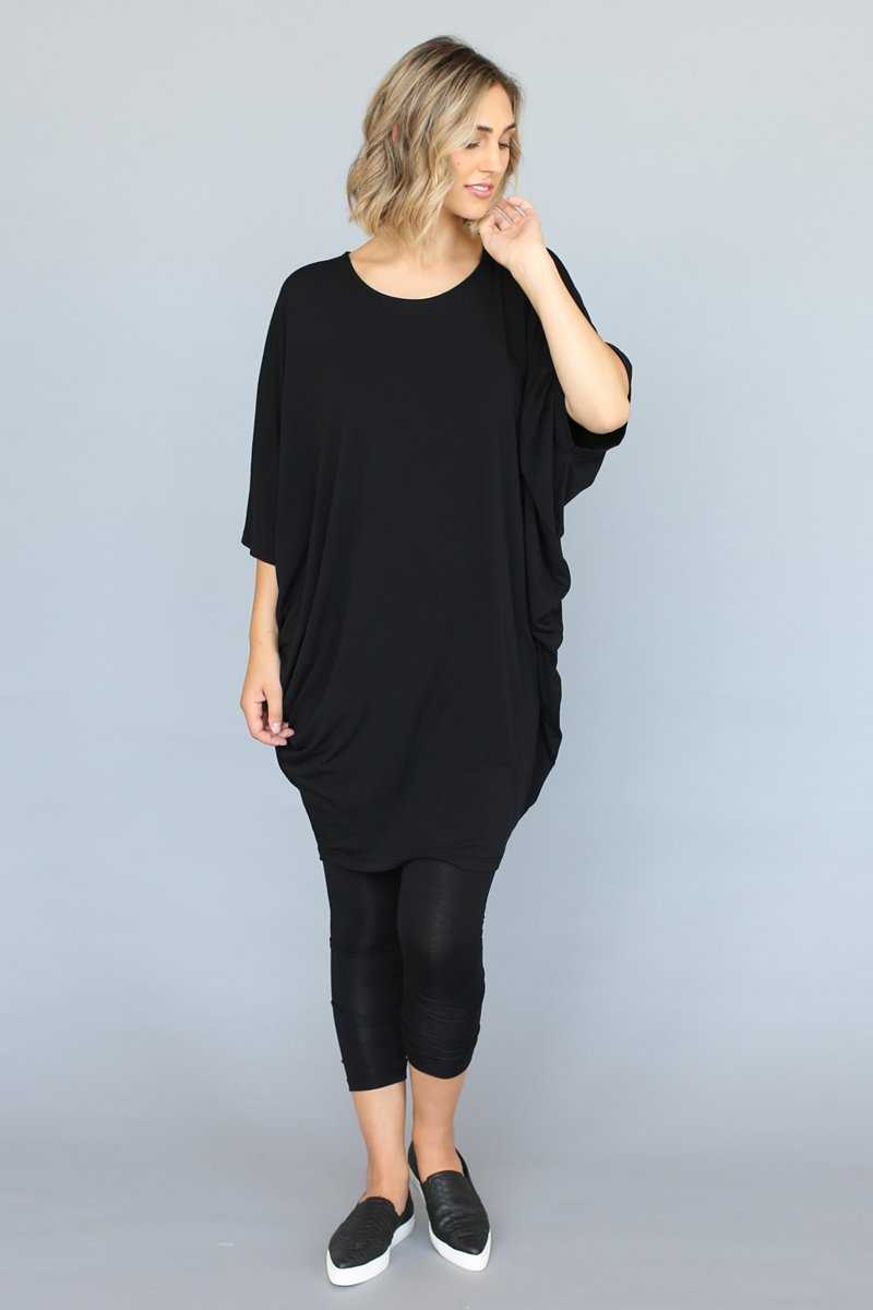 Bamboo Cotton Drapey Tunic in Black with Black leggings