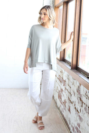 Bamboo Cotton Boxy Top in Sage