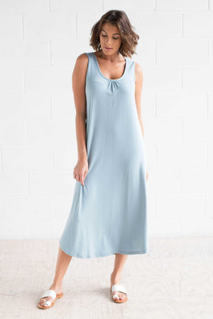 Bamboo Cotton Maxi Dress sleeveless Blue