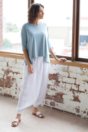 Bamboo Cotton Boxy Top in Blue