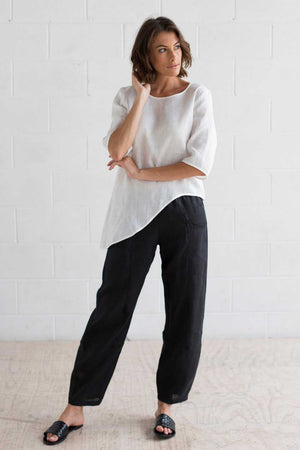 Curved Hem Linen Top