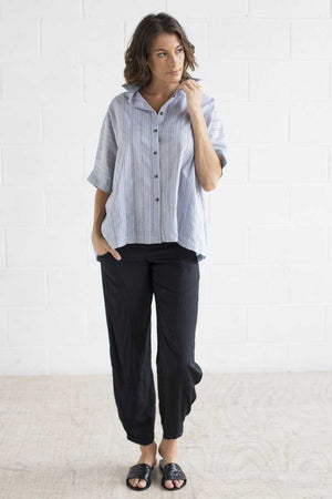 Cotton Stripe Boxy Shirt