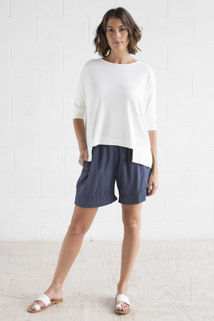 Bamboo Cotton Boxy Top in White
