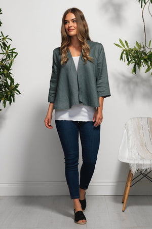 Cropped cardi w/ buttoned back
