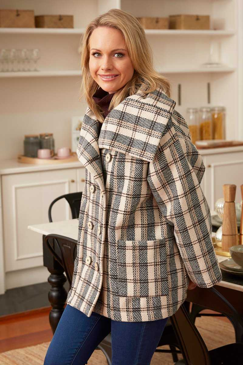 wool blend check coat with black skivvy basic top